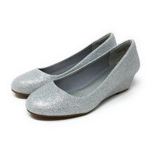 Dream Pairs Debbie Silver Glitter Mid Wedge Size 5